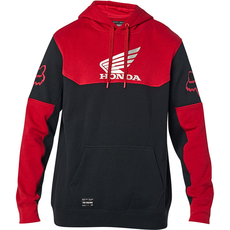 FOX Pánská mikina HONDA PULLOVER FLEECE black/red