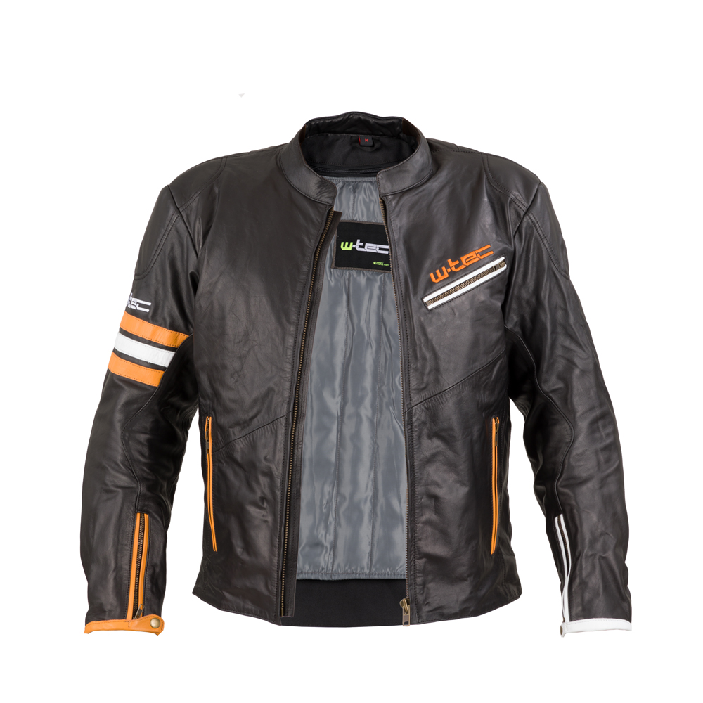 Kožená moto bunda W-TEC Brenerro - Black-Orange-White