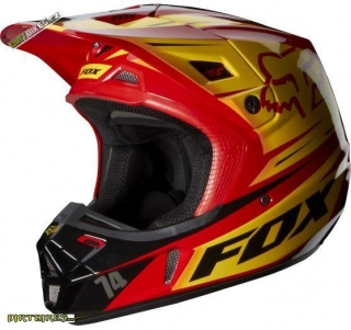 Fox Racing V2 Race Helmet, Ece Red/Yellow L